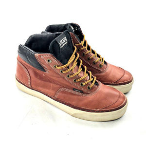 Vans OTW Mens Brown Leather High Top Shoes Lace Up